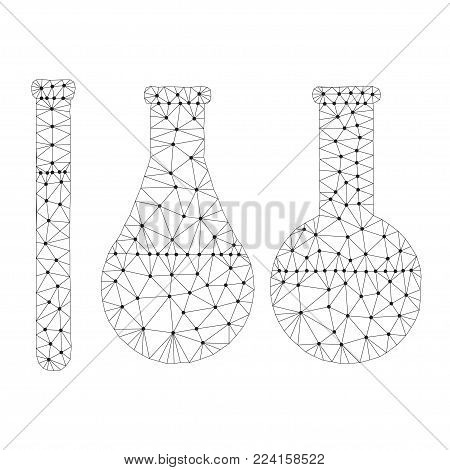 Polygonal chemistry glassware, test tubes isolated from polygon wireframe on white background. Low poly design for science and analyses. Abstract polygonal image mash line and point. Digital graphics