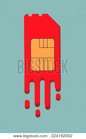 SIM card for Smartphone, sim card stylized under the stains of paint