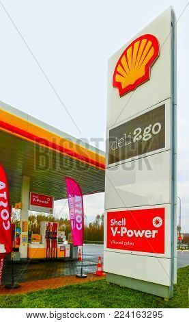 Prague, Czech Republic - January 2, 2018: Filling nozzles at a Shell gas station at Prague, Czech Republic on January 2, 2018. Shell is an Anglo-Dutch multinational oil and gas company headquartered in the Netherlands.