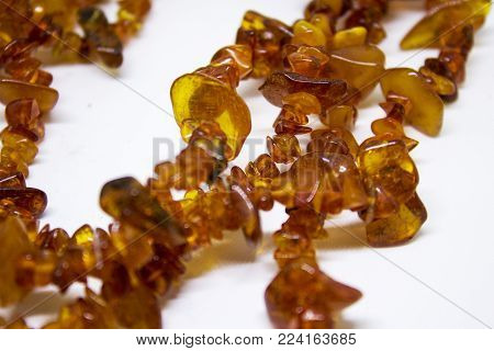 Colorful amber necklace from different sort of baltic amber