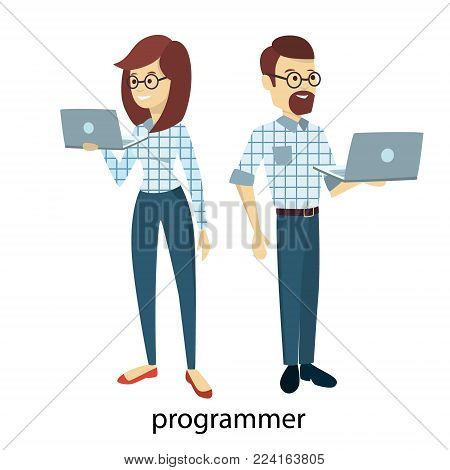 Isolated programmers couple with laptops on white.