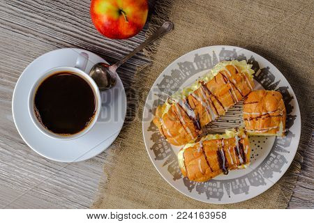 cakes eclairs,cakes with cream,eclairs,homemade cakes,pastry cakes according to the old recipe,Good morning,dessert