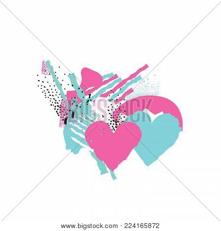 Two hearts in love. Love sign. Valentine's day greeting card in 1990s style with love hearts