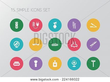 Set of 15 editable barber icons. Includes symbols such as moustache, odor, looking-glass and more. Can be used for web, mobile, UI and infographic design.