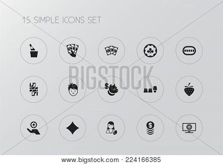 Set of 15 editable excitement icons. Includes symbols such as coins, thimbles game, casino chip and more. Can be used for web, mobile, UI and infographic design.