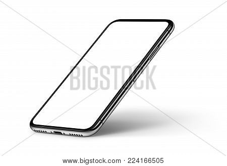 Isometric smartphones like iPhone X mockup front and back side one above the other. New modern black frameless smartphones with blank white screen and back side. Isolated on white background. 3D illustration.