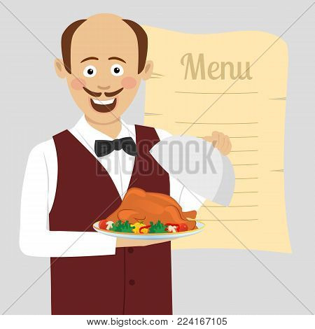 Cute waiter with a tray serving roasted poultry stands over blank menu