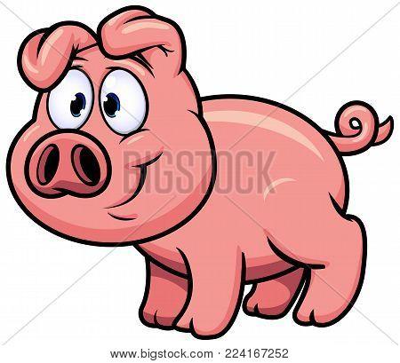 Vector Illustration of Cartoon Pig Farm Animal