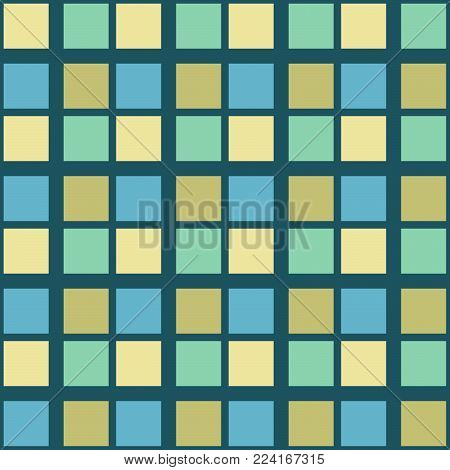 Abstract seamless pattern with squares. Geometric vector illustration. Light pastel colors.