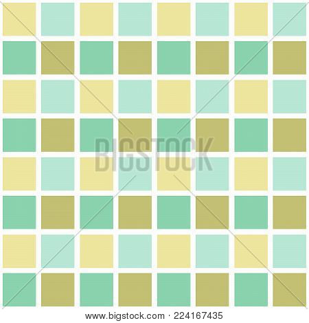 Abstract seamless pattern with squares. Geometric vector illustration. Light pastel colors.Gingham.