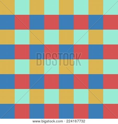 Abstract seamless pattern with squares. Geometric vector illustration. Bright colors.Gingham.
