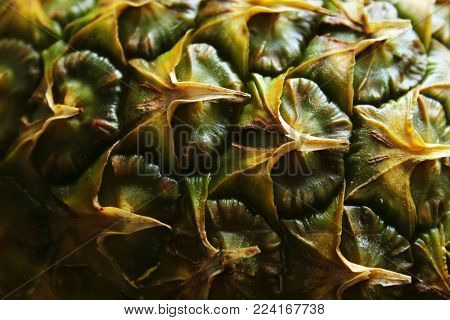 Closeup Shot Of Pineapple. Food Background.Abstract Pineapple Background.Cropped Shot Of Pineapple Over Dark Background. Fruit Texture.