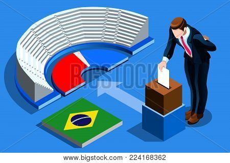 Brazil election voting concept Brazilian man putting vote in the isometric ballot box. Vector illustration with 3D flat isometric realistic detailed people