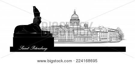 St. Petersburg City, Russia. Saint Isaac's Cathedral Skyline With Egyptian Sphinx Monument Landmark