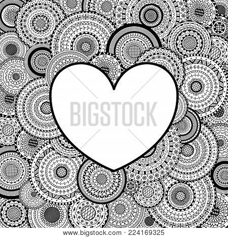 vector; frame; heart; love; valentine; template; mandala; ancient; geometric; arabesque; line; art; guilloche; black; white; coloring; page; book; holiday; day; round; background; turkish; arabic; card; pakistan; indian; ottoman; tribal; paganism; meditat
