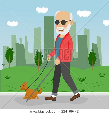 Senior blind man with guide dog walking outdoor in city park in the summer
