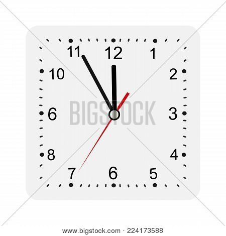 Classic square wall clock isolated on white. Empty dial watch. Vector illustration