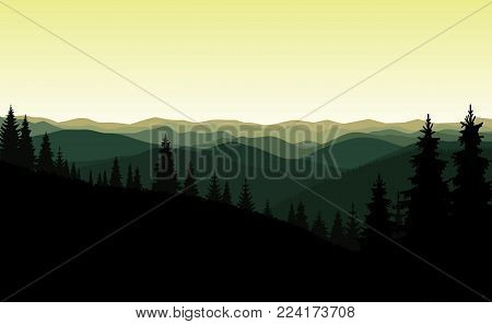 Mountain landscape. Green and yellow shades. Sunset.