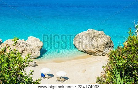 Kavalikefta Beach, Lefkada Island, Greece. Beautiful turquoise water