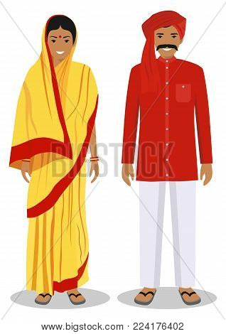 Detailed illustration of standing indian people in the traditional national indian clothing isolated on white background in flat style.