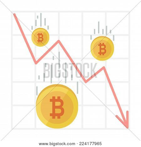 Bitcoin Fall Chart. Cryptocurrency decline graph in flat style. Web money price crash, red sales arrow down vector Illustration.