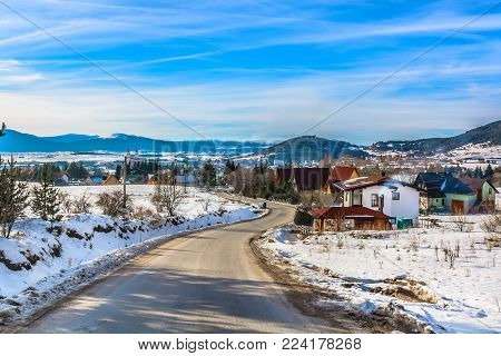 Aerial view at winter ski resort in suburb of Kupres town, Bosnian famous tourist places.