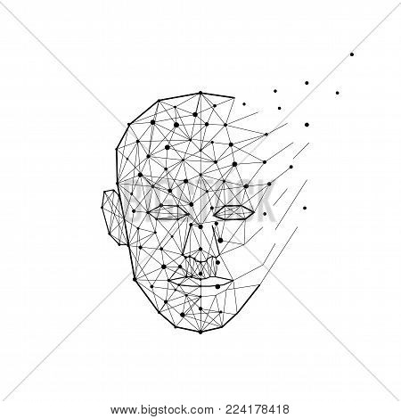 Polygon human head exploding and breaks into lines and dots. Smart person and mind concept, low poly creative vector illustration