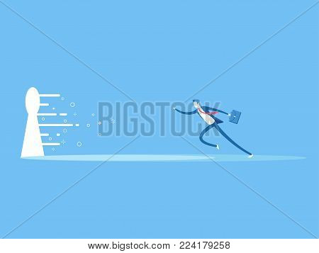 Business concept the solution to the problem. Businessman runs to the large keyhole flat vector illustration. The employee runs towards the bright light coming from the keyhole