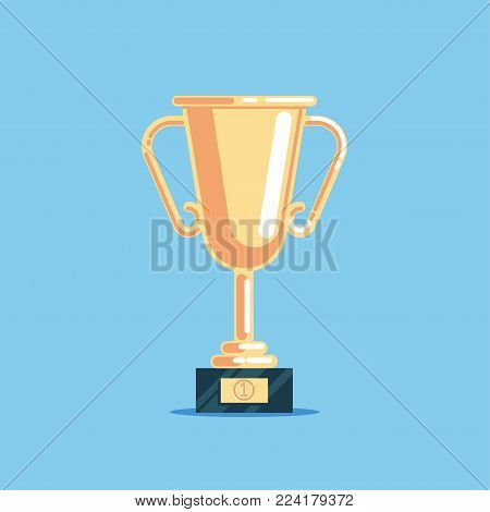 Flat a gold award vector illustration. Shining golden cup icon. Trophy for first place in the championship or contest.