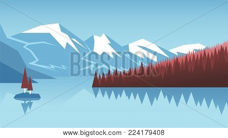 Vector mountain landscape. Coniferous forest and lake in the background of mountains and blue sky. Vector illustration for banner, poster or web design