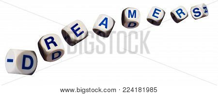 Dreamers children spelling letters on white background to illustrate dreaming of the future
