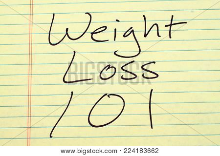 The words Weight Loss 101 on a yellow legal pad