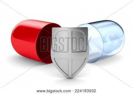 capsule on white background. Isolated 3D illustration