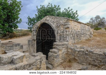 Side view of the ancient tiny chapel of  St. Stephen, near the village of Pachna in Cyprus.