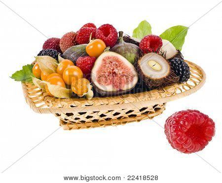 multifruit in the basket isolated on white