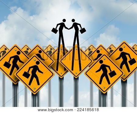 Business relationship agreement and out of the box corporate success solutions as people in signs emerging to shake hands as a3D illustration.