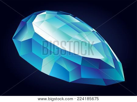 Vector shiny beautiful blue faceted aquamarine on dark background