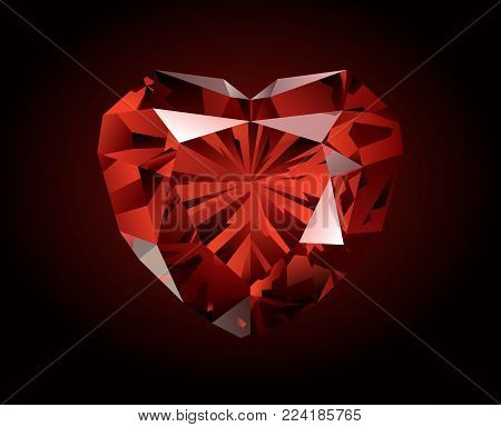 Vector shiny beautiful red faceted garnet in the shape of heart on dark background