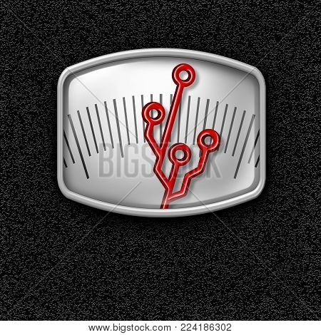 Dieting technology and diet digital weight loss assistant electronics concept as a scale with a circuit shaped needle indicator as a high tech fitness symbol with 3D illustration elements.