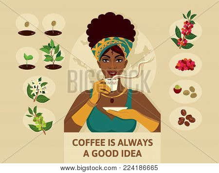 Poster with a woman in elegant clothes, who holds a cup of coffee. Process of planting and growing a coffee tree and beans. Stylish illustration coffee growing process for interior design or magazine