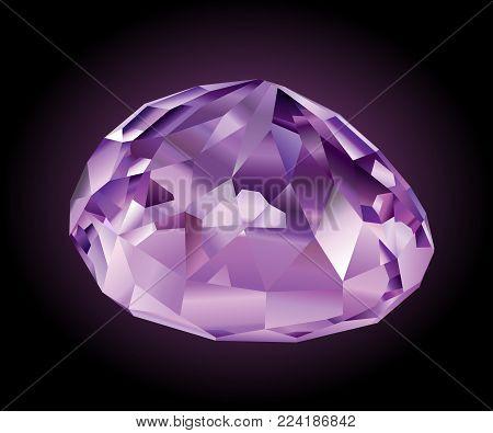 Beautiful faceted shining violet kunzite on dark background