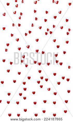 Many heart shapes flying on white background