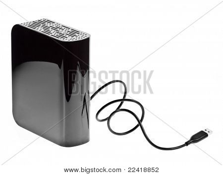 External hard drive isolated on white background