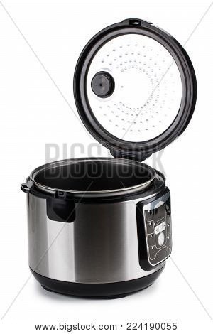 Electric multi cooker isolated on white background.