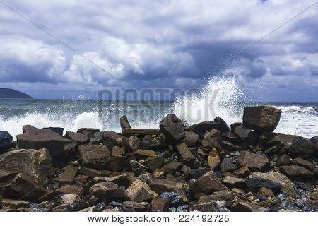 the hectic sea hitting the coast of the south coast.