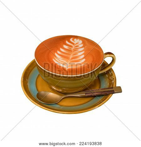 Hot coffee cup isolated on white background