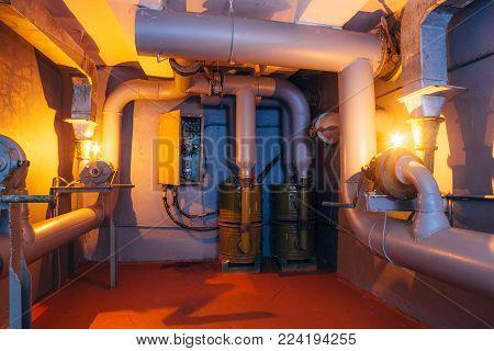 Industrial filter ventilation system in Soviet bomb shelter.