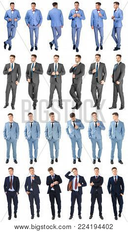 Collage with young handsome men in different elegant suits posing on white background