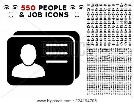 Account Cards pictograph with 550 bonus pity and glad men pictures. Vector illustration style is flat black iconic symbols.