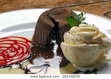Petit gateau with ice cream
